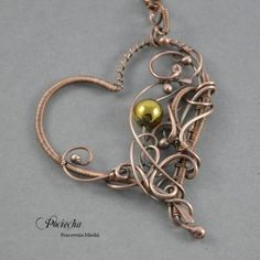 Golden heart - gold necklace with hematite