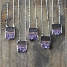 Natural Raw Amethyst Slice Necklace - Geode Stone Edged with Silver by burnish on Etsy