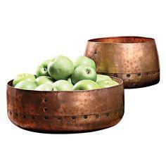 2 Piece Hammered Copper Bowl Set