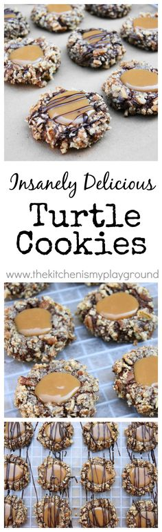Insanely Delicious Turtle Cookies ... soft chocolate-pecan thumbprint cookies filled with caramel. www.thekitchenismyplayground: