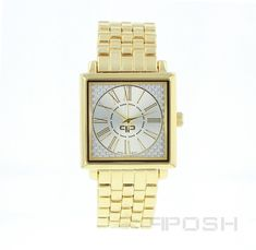 Product Product Category POSH Time Pieces - Classic square face design - Plated in gorgeous - Face features exclusive Selling On Pinterest, Elegant Watches, Face Design, Bracelet Designs, Luxury Jewelry, Designer Wear, Fashion Watches, Gold Watch, Jewelry Stores