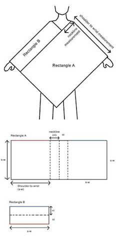 ao with <3 / good for crocheters to know, too / Universal poncho diagram. If you can make a rectangle, you can make this.