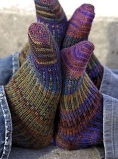 fyeahhandknitsocks:    Pinwheel Socks by Elise Duvekot  Pattern available in Knit One Below book