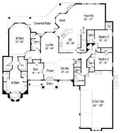 First Floor Plan of Florida   Mediterranean   House Plan 64674