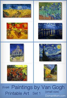 Free Printable Art Cards: Paintings By Van Gogh, Set 1 (Two Sizes) | DomanMom.com