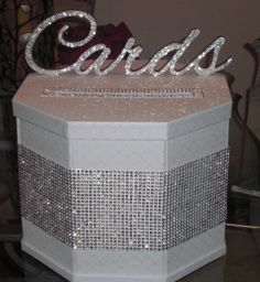 Bling Cardbox :  wedding cardbox white silver diy