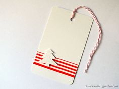 Christmas Gift Tags Set of 5 Red and White by AnnKayDesign on Etsy