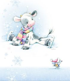 Leading Illustration & Publishing Agency based in London, New York & Marbella. Christmas Animals, Christmas Pictures, Christmas Art, Illustration Inspiration, Illustration Noel, Cute Images, Cute Pictures, Illustration Mignonne, Art Mignon