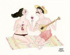 Portuguese Bathers // A4 print // SUMMER // wine & by joanarosab, €24.00