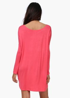 simple coral dress, it would look so cute with the right accessories!