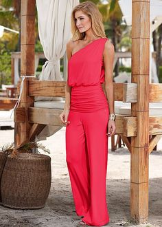 Pair with your favorite sandals or go to wedges for a day or night look everyone will love! Venus one shoulder drape jumpsuit.