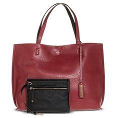 e20e114514 Women s Reversible Tote Handbag with Accessory Bag - Burgundy Black Tote  Handbags