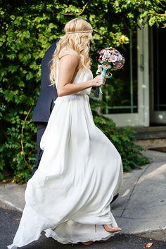 Beautiful bride Sara wears the Bo & Luca CAPRI gown and SELENE headpiece - Bohemian luxury