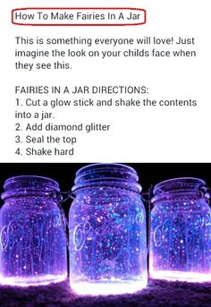 Fairies in a jar… why not? Must have for an outdoor goa party. Fairies in a jar… why not? Must have for an outdoor goa party. Diy Crafts For Girls, Fun Diy Crafts, Summer Crafts, Diy For Kids, Science Crafts, Camping Crafts, Diy For Teens, Craft Activities, Mason Jar Diy