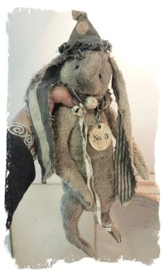 "Image of NEW DESIGN * 11"" Old & Worn Long-eared Clown Rabbit * By Whendi's Bears"
