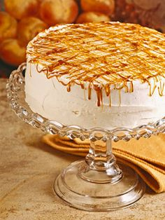 Caramel topping turns this basic  white cake recipe into a spectacular dessert. The melted sugar topping sets up into a sweet crackly confection even if your zigzag is less than perfect.