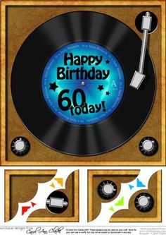 - A lovely fun Vinyl Record with greeting on a record player. A great retro gramophone design which is great for young and ol.
