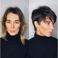 Mind Blowing Hair Transformation Before & After Photos - Gallery Short Human Hair Wigs, Short Hair Cuts, Short Pixie, Before After Hair, Hair Shows, Hair Transformation, Hairstyles Haircuts, Pixie Haircuts, Hair Day