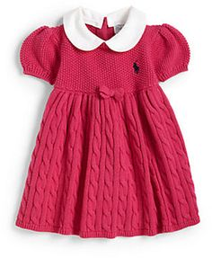 Ralph Lauren Infant's Baby Doll Dress This cable-knit dress is designed with an adorable baby-doll silhouette and accented with a sweet bow and signature Ralph Lauren embroidered pony at the chest.
