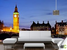 Panoramic landscape shot of Big Ben and surrounding area - an memorable feature wall in any home!