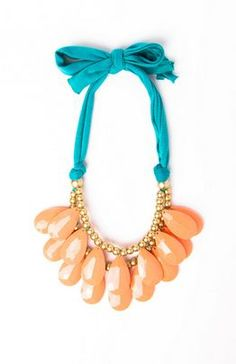 teal + coral necklace #jewelry
