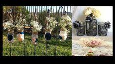 Idea del vasetto che, rivestito con pizzi e merletti, fiori di stoffa e perline, diventa un accessorio molto elegante dal sapore vintage.