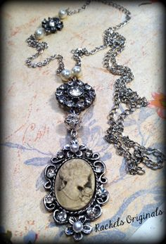 Cameo Necklace Design & Handcrafted by Rachel's Originals: Jewelry So Adorable It's ADORNable  TO ORDER: Please visit my FB and/or Esty pages at the following links!  www.facebook.com/RachelsOriginals  www.rachelsoriginalgifts.etsy.com