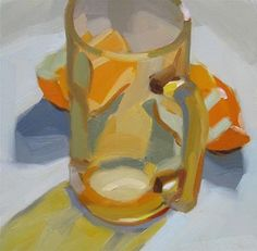 """Daily Paintworks - """"Amber Glass and Orange Slices"""" by Robin Rosenthal"""