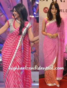 shilpa shetty's more, but cant say if its coz of her or coz the saree is better Chiffon Saree, Lehriya Saree, Shilpa Shetty Saree, Saree Dress, Anarkali, Indian Dresses, Indian Outfits, Bandhini Saree, Indische Sarees