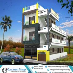 building elevation front elevation modern building elevation Architectural Visualization rendering services visualization of building House Design 3d, 2 Storey House Design, House Front Design, Building Elevation, House Elevation, New House Plans, Dream House Plans, 3d Building, Building Front