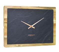 modern wood clock | NATURAL SLATE AND WOOD RECTANGLE WALL CLOCK