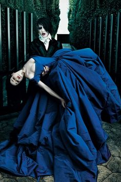 Dita von Teese & Marilyn Manson shooting for US Vogue March 2006 during their wedding http://theokmagazine.com/