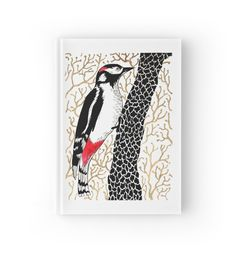 """Woodpecker, forest bird, watercolor & ink sketch"" Hardcover Journals by ptitsa-tsatsa | Redbubble"