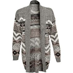 Miso Aztec Cardigan ($36) ❤ liked on Polyvore featuring tops, cardigans, jackets, outerwear, sweaters, tribal cardigan, black cardigan, open front cardigan, black knit cardigan and long tribal cardigan