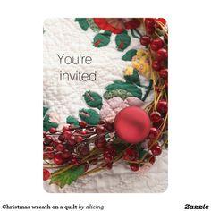 Christmas wreath on a quilt