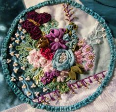 """I ❤ crazy quilting & ribbon embroidery . . . Another 6"""" block - I love combining silk ribbon with beads & hand dyed laces & am finding I love to stitch in such tight quarters. ~By Nicki Lee"""