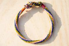 繽紛編織混色腳繩 / 衝浪腳繩 - 條紋四色蠶絲蠟線 ( 客製化 )
