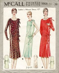 1920s 1930s McCall 5908 flapper day or evening dress bias cut frill drop waist bust 38 vintage sewing pattern repro