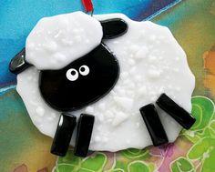 Sheep Ornament Christmas Sheep Christmas by nivenglassoriginals