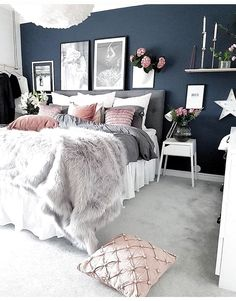 Grey And White Bedroom Ideas On A Budget Latest Fashion Trends for Women - cozy grey and white bedroom ideas; bedroom ideas for small rooms; bedroom decor on a budget; bedroo Grey And White Bedroom Ideas On A Budget Latest Fashion Trends for Women - . Couple Bedroom, Small Room Bedroom, Home Decor Bedroom, Budget Bedroom, Small Rooms, Bed Room, Bedroom Beach, Dorm Room, Warm Bedroom