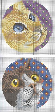 Котики ... 14 схем для вышивки крестом