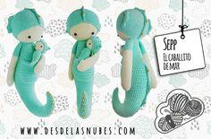 Sepp el caballito de mar muñeco de ganchillo por DesdelasNubes  Crochet amigurumi  www.desdelasnubes.com