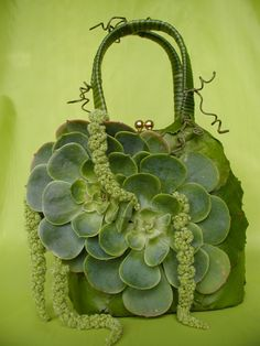 Fully functioning evening bag completely covered in organics- website www.steveolivieri.com