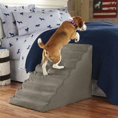 DIY Pet Stairs - Dog Steps Complete with Paint and Carpet. We used some scrap lumber and leftover carpet tiles to create stairs for our small dogs Pet Stairs For Bed, Dog Steps For Bed, Bed Stairs, Pet Steps, Pet Ramp, Orthopedic Dog Bed, Best Dog Training, Diy Stuffed Animals, Small Dogs