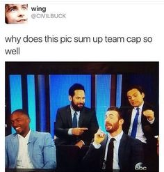 because Cap is speechifying, Bucky is so done, Scott is fanboying, and Sam just thinks everything is so funny.