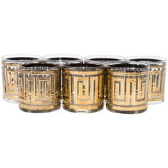 Mid-Century Greek Key Rocks Glasses, Set of Seven | From a unique collection of antique and modern barware at https://www.1stdibs.com/furniture/dining-entertaining/barware/