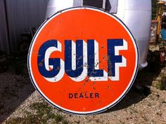 Sold!! Gulf Double Sided Porcelain Dealer Sign 1962 Three Colors