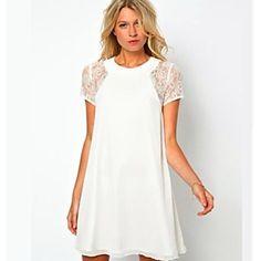 Encaje de empalme flojo vestido de las mujeres – USD $ 16.09