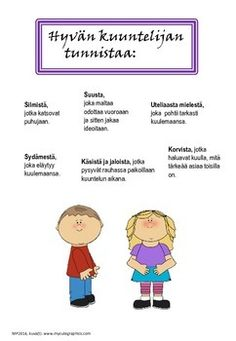 Julistepaketti koululaisen taitoja (in Finnish) by Maria Pernu Teaching Reading, Learning, Teacher Inspiration, Good Listener, Fun Activities For Kids, Creative Teaching, Social Skills, Pre School, Special Education