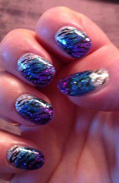 Three Glitters Zebra Nail Art ...